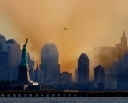 SMOKE SHROUDS THE NEW YORK SKYLINE AFTER THE WORLD TRADE CENTERATTACKS.